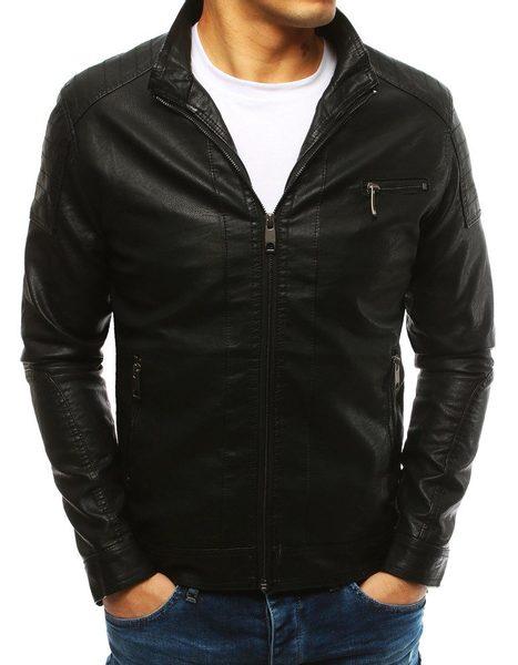 Zaujímavá čierna koženková bunda