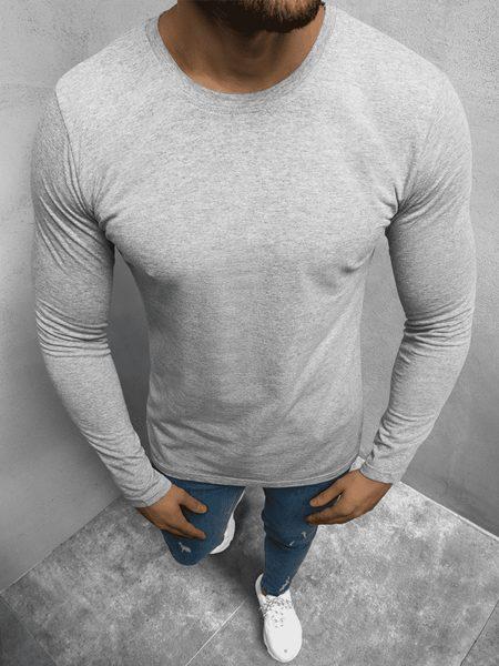 Jednoduché šedé tričko s dlhým rukávom O/1209Z