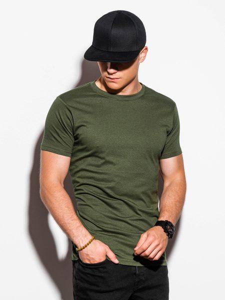 Khaki jednoduché pánske tričko S884