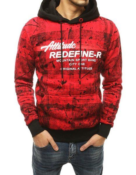 Trendová červená mikina s potlačou