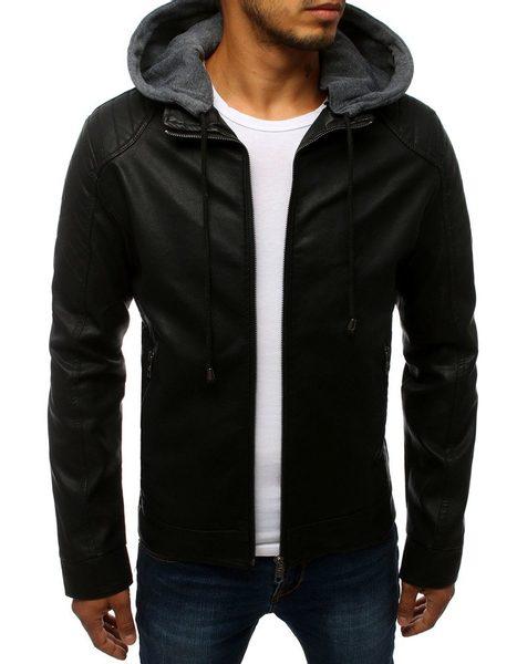 Trendy čierna koženková bunda