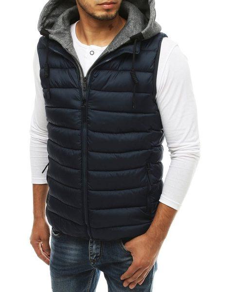 Granátová prešívaná vesta s kapucňou