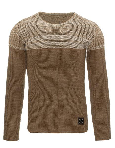 Jedinečný hnedý pánsky sveter
