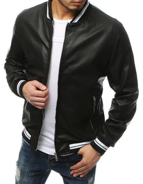 Perfektná čierna koženková bunda