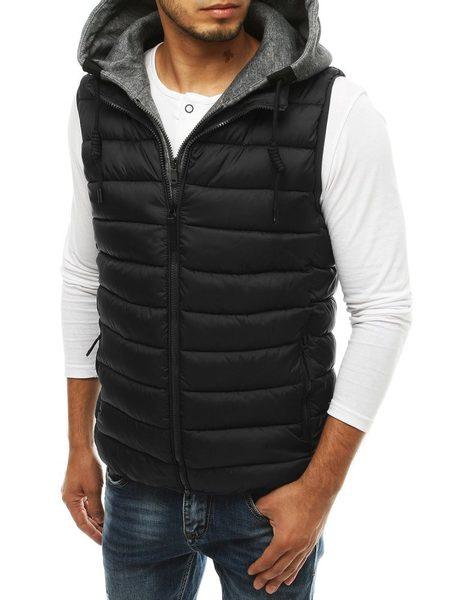 Čierna prešívaná vesta s kapucňou