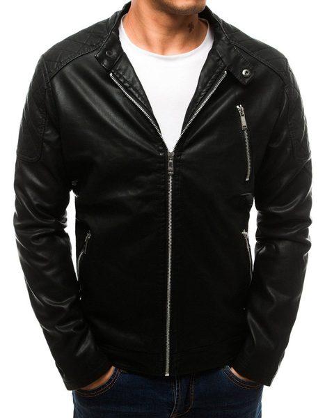 Čierna koženková bunda v jednoduchom prevedení