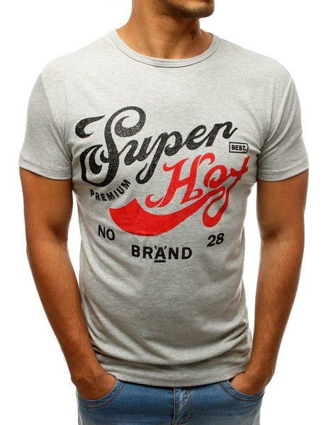Trendy šedé pánske tričko SUPER HOT