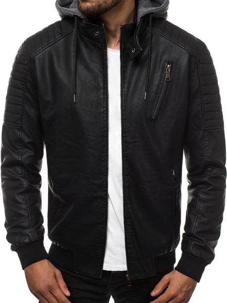 Moderná čierna koženková bunda RF/HK03Z