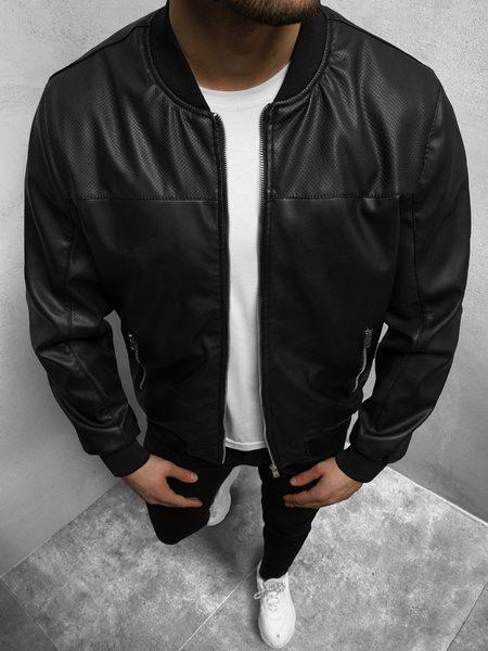 Štýlová čierna koženková bunda N/6705