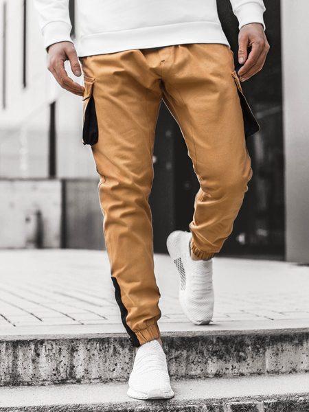 Kamelové nohavice s hlbokými vreckami A/705