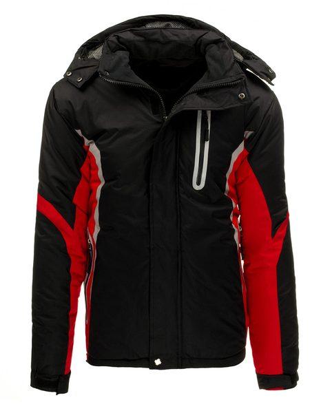 Športová zimná čierno-červená pánska bunda