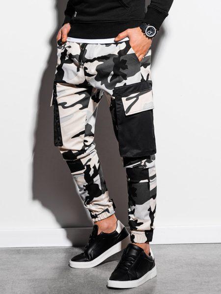 Štýlové maskáčové čierne joggery P998
