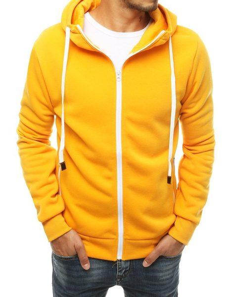 Žltá mikina na zips s kapucňou