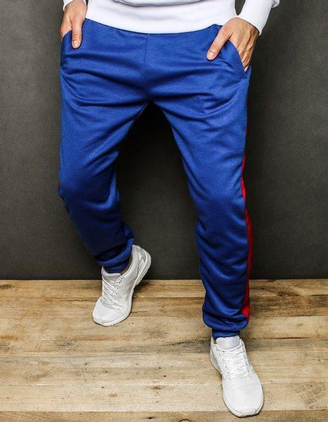 Trendy modré tepláky s červeným pásom