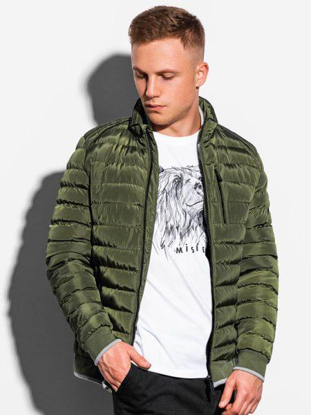 Moderná zelená prešívaná zimná bunda c422