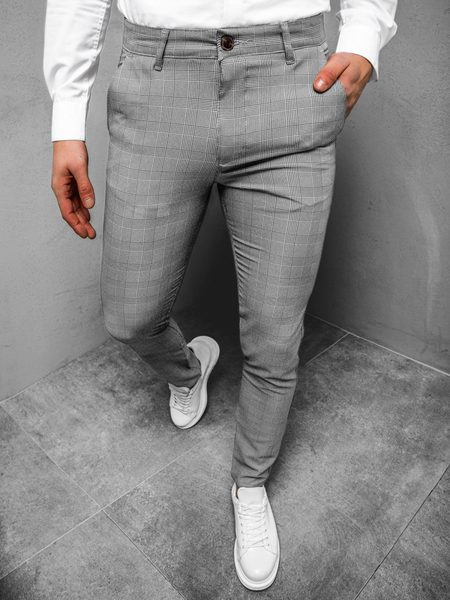 Pánske šedé nohavice v zaujímavom prevedení DJ/5525