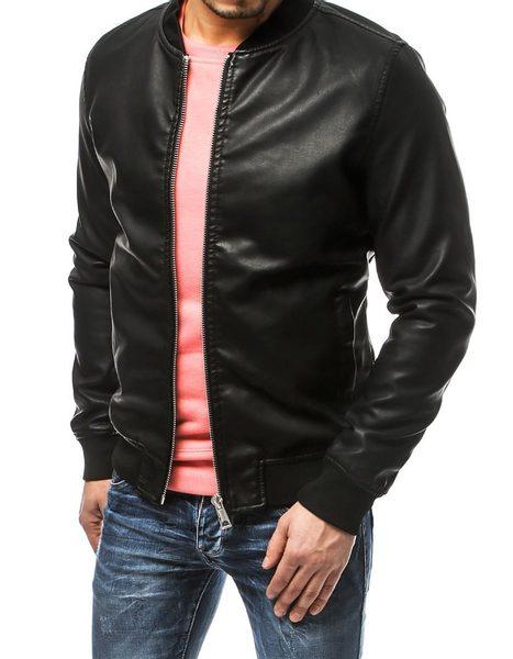 Čierna pánska koženková bunda