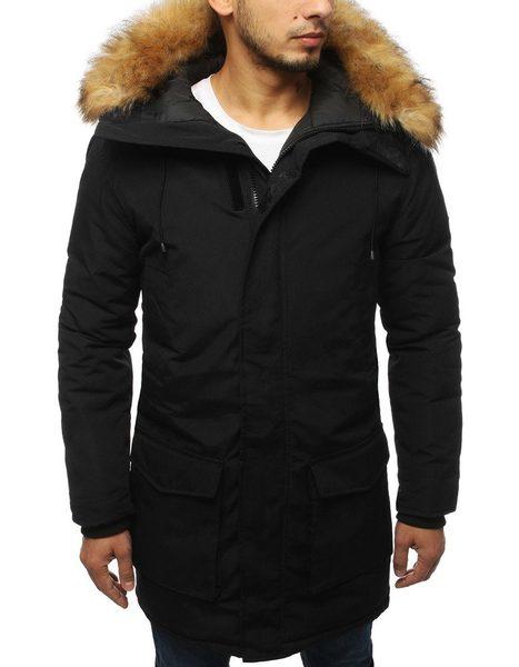 Zimná bunda v čiernej farbe s kapucňou