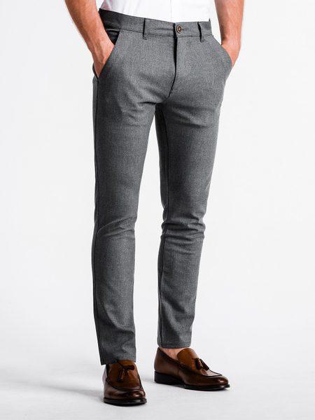 Elegantné pánske chinos nohavice šedé P832