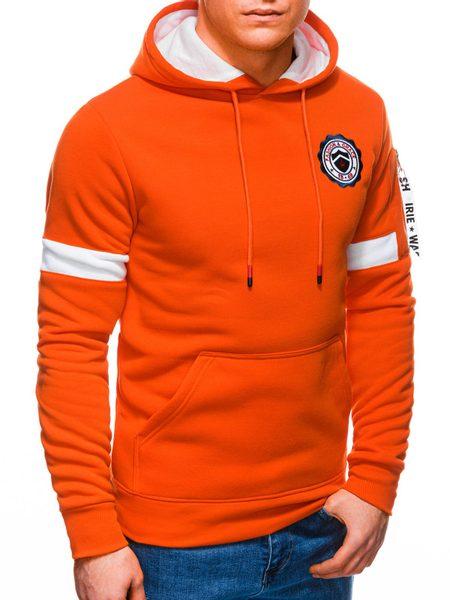 Trendová oranžová mikina s kapucňou B1241