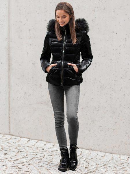 Čierna trendy dámska zimná bunda O/DK030/1Z