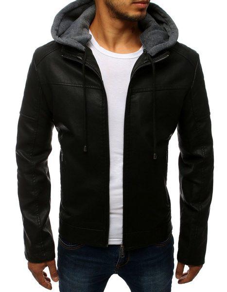 Jednoduchá čierna koženková bunda