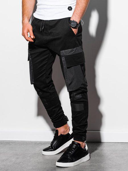 Štýlové čierne joggery P998