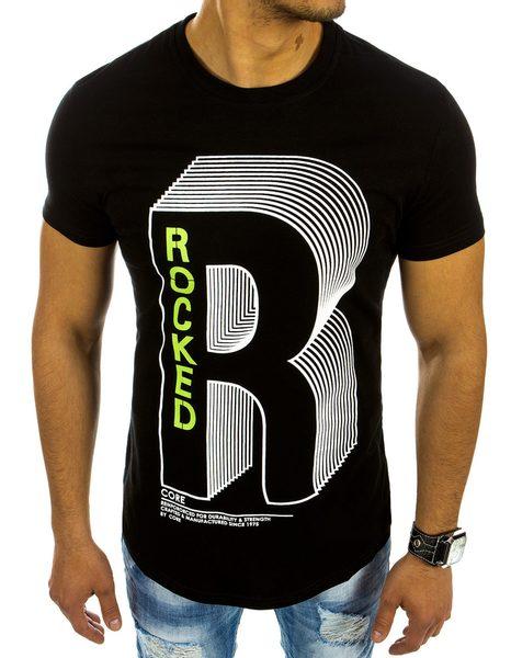 Pánske tričko v čiernej farbe s potlačou písmena