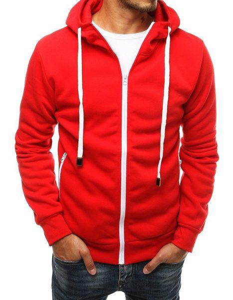 Červená mikina na zips s kapucňou