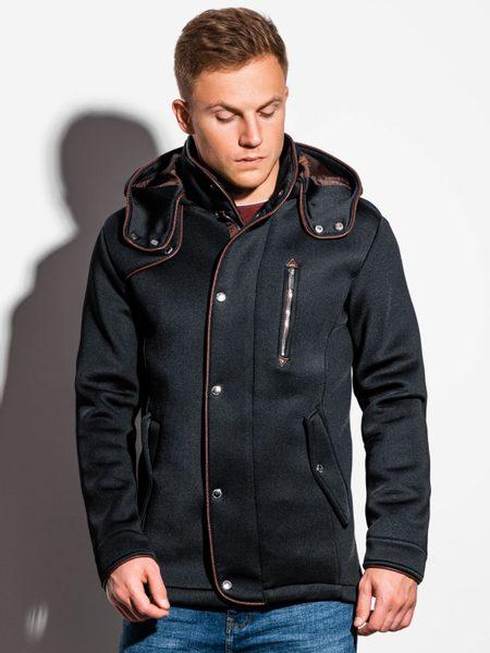 Čierny moderný kabát s kapucňou c200