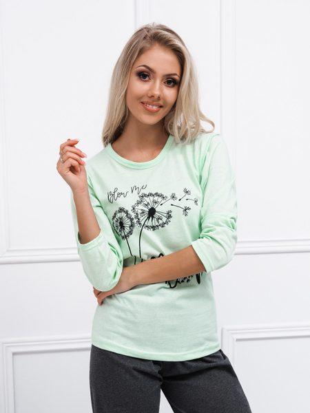 Jedinečné dámske pyžamo v zelenej farbe ULR047