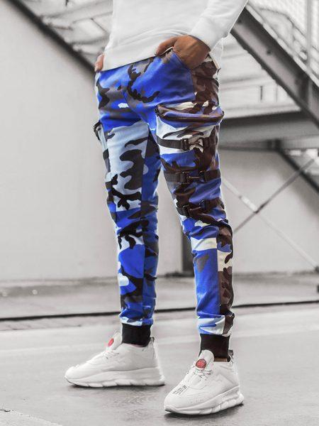 Štýlové maskáčové modro-čierne joggery G/11132