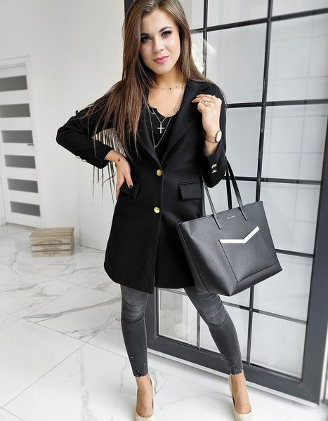 Elegantný dámsky čierny kabát Bella