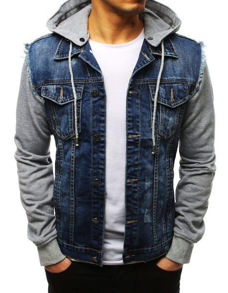 Trendy modrá rifľová bunda s kapucňou