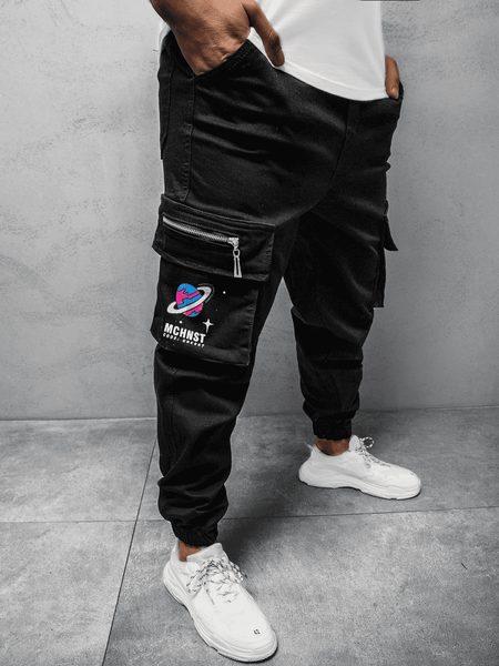 Trendové čierne jogger nohavice MACH/51222
