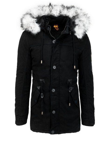 Štýlová čierna zimná parka s kožušinou