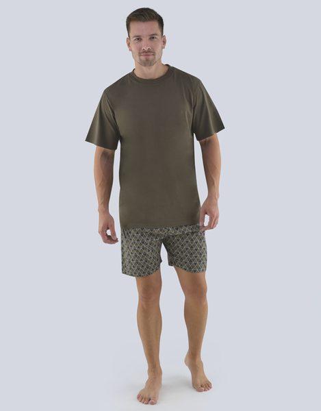 Pánske pyžamo v khaki farbe na leto