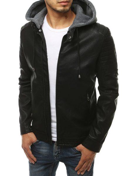 Čierna koženková bunda s kapucňou