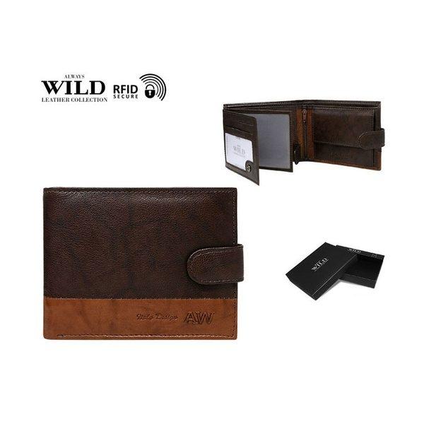 Dvojfarebná hnedá pánska peňaženka WILD