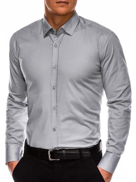 Šedá košeľa s dlhým rukávom k505