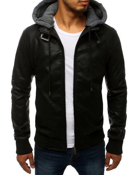 Moderná čierna koženková bunda