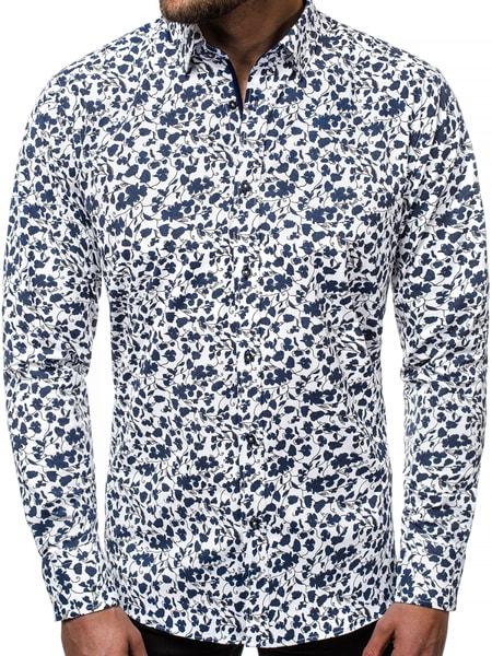Biela kvetinová pánska košeľa V/K124