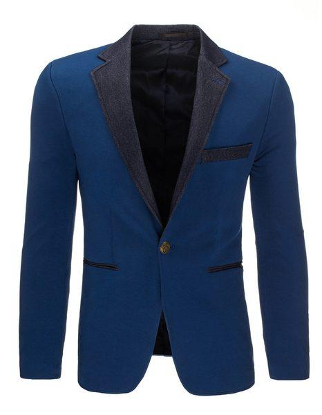 Modré pánske sako v atraktívnom dizajne