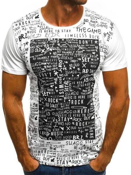 Biele tričko so štýlovou potlačou O/1173