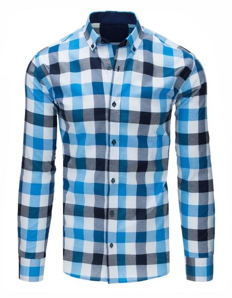 Atraktívna bielo-modrá kockovaná košeľa