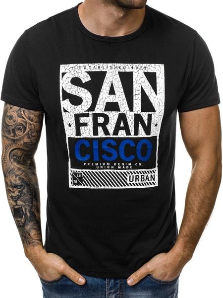 """Čierne pánske tričko """"SAN FRANCISCO"""" JS/SS100608"""