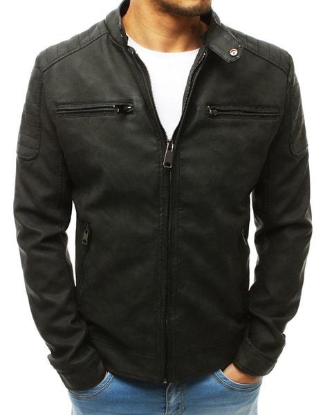 Pánska kožená čierna bunda na prechodné obdobie