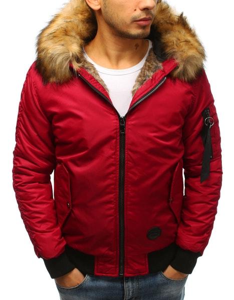 Moderná zimná bomber bunda červená