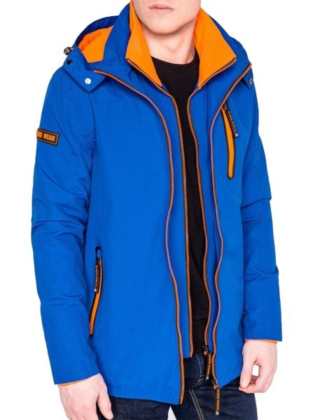 Prechodná modrá bunda s kapucňou c385