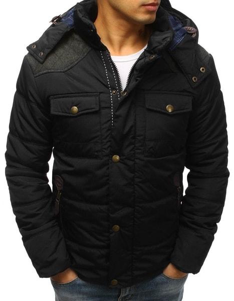 Zimná čierna prešívaná bunda